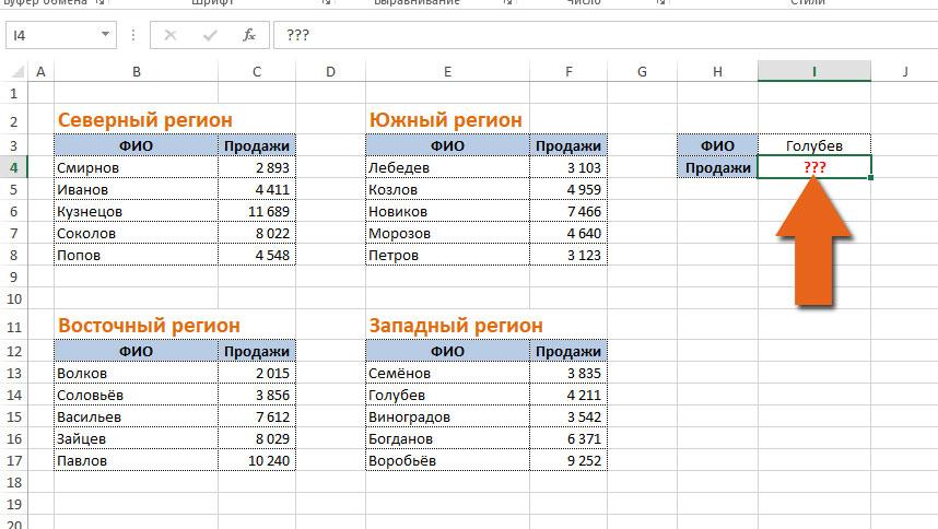 данные в нескольких таблицах