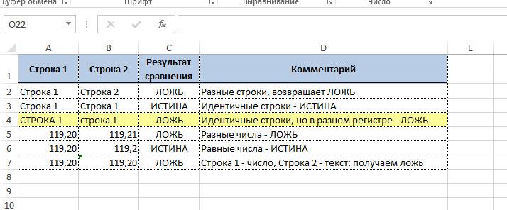 функция проверки идентичности строк