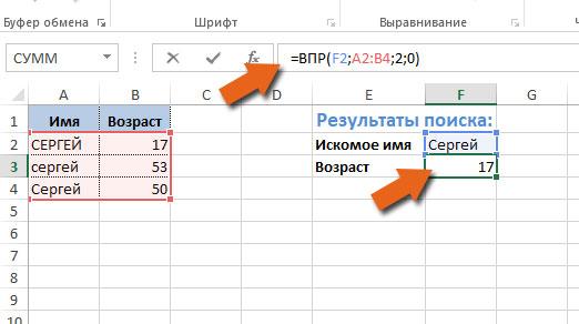ВПР и регистр