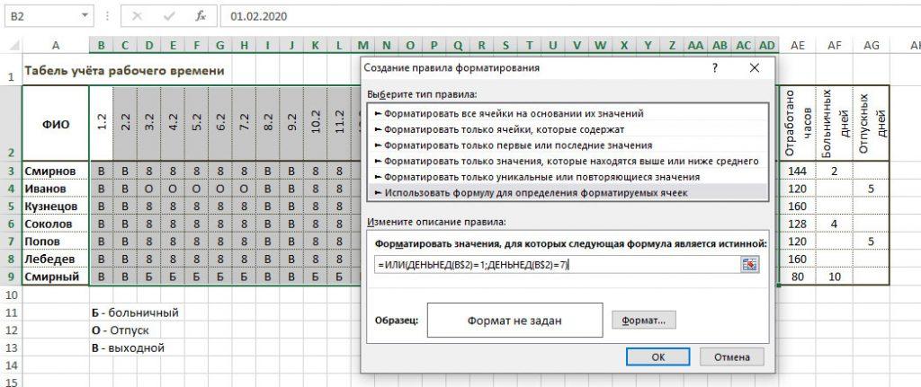 правило форматирования