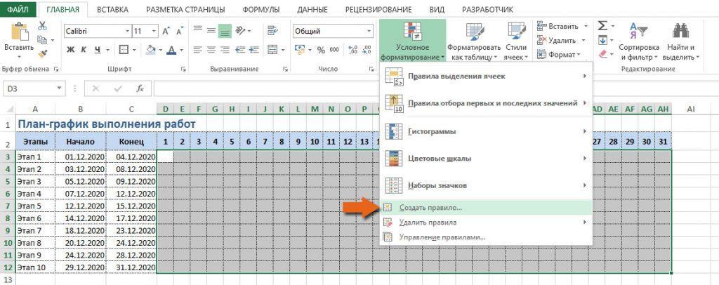 создание условного форматирования